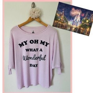 Disney Parks Top Striped Pink & White New with tag